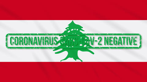 Lebanon swaying flag with green stamp of freedom from coronavirus, loop Animation