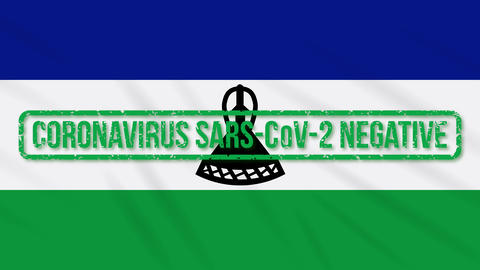 Lesotho swaying flag with green stamp of freedom from coronavirus, loop Animation
