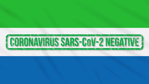 Sierra Leone swaying flag with green stamp of freedom from coronavirus, loop Animation