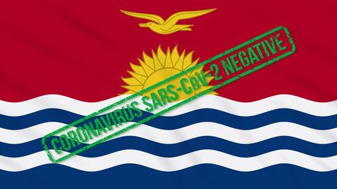 Kiribati swaying flag with green stamp of freedom from coronavirus, loop Animation