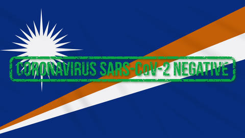 Marshall Islands swaying flag with green stamp of freedom from coronavirus, loop Animation