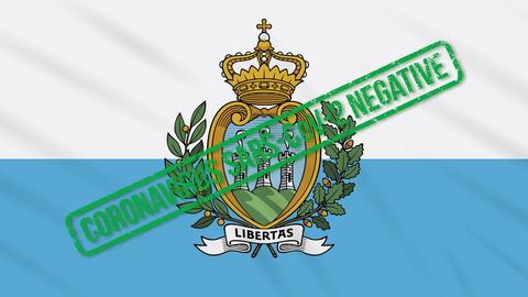 San Marino swaying flag with green stamp of freedom from coronavirus, loop Animation