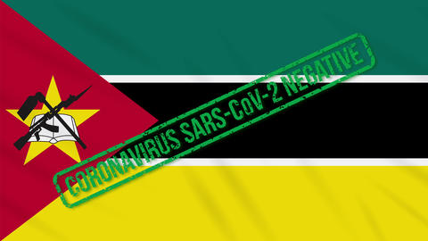 Mozambique swaying flag with green stamp of freedom from coronavirus, loop Animation