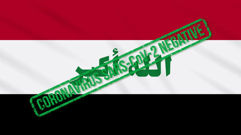 Iraq swaying flag with green stamp of freedom from coronavirus, loop Animation