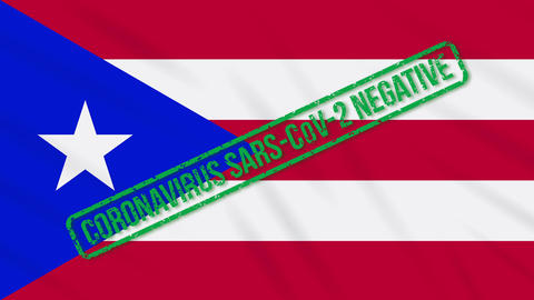Puerto Rico swaying flag with green stamp of freedom from coronavirus, loop Animation