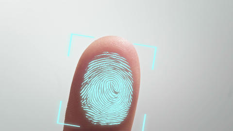 scan fingerprint biometric identity and approval. concept of the future of Live Action