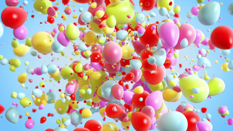 Colorful Baloons Explosion background in 4K GIF