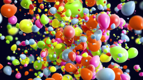 Colorful Baloons Explosion background in 4K Animation