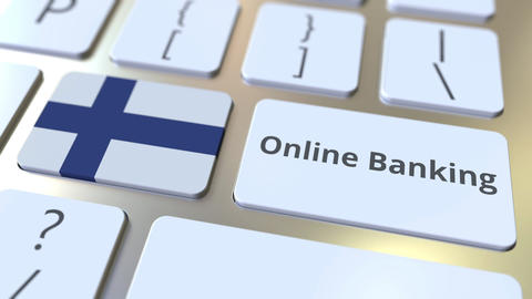Online Banking text and flag of Finland on the keyboard. Internet finance Live Action