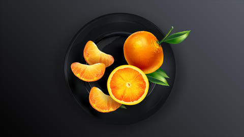 Animation of a composition of mandarins on a plate Animation