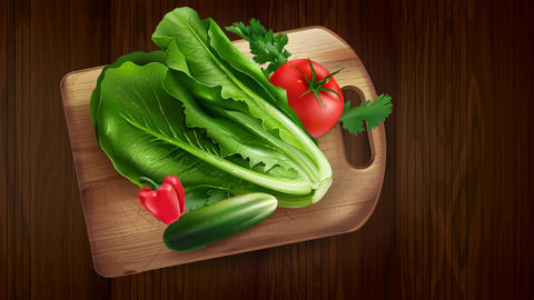 Fresh vegetables salad, tomato and bell pepper Animation