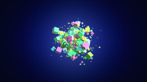 Colorful boxes Explosion background in 4K GIF