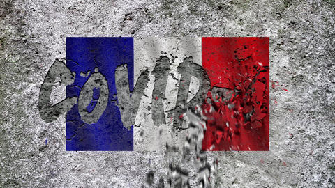 """On the textured concrete wall with the French flag appears the inscription: """"COVID-19'', concrete Live Action"""