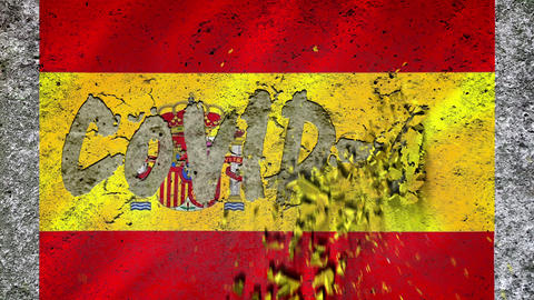 """On the textured concrete wall with the Spanish flag appears the inscription: """"COVID-19'', concrete Live Action"""