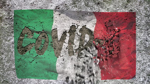 """On the textured concrete wall with the Italian flag appears the inscription: """"COVID-19'', concrete Live Action"""