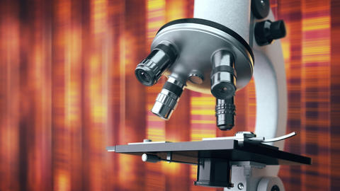 Scientific laboratory microscope with a defocused orange background Animation