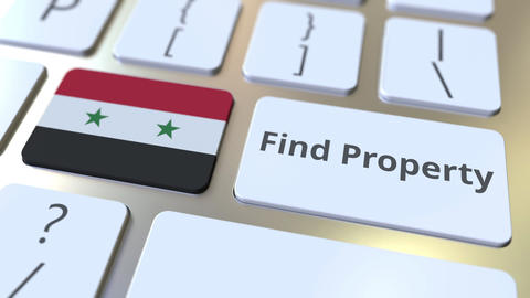 Find Property text and flag of Syria on the keyboard. Online real estate service Live Action