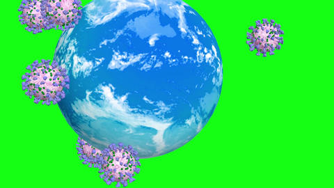 Coronavirus covid 19 revolves around the Earth. Green Screen Animation