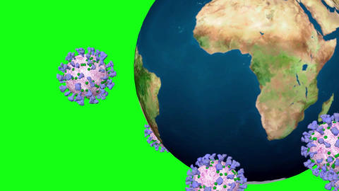 Coronavirus covid 19 revolves around the Earth. Green Screen Animation