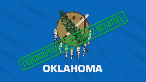 Oklahoma US state swaying flag with green stamp of freedom from coronavirus Animation