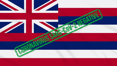 Hawaii US state swaying flag with green stamp of freedom from coronavirus, loop Animation
