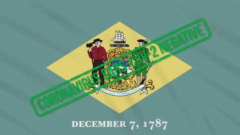 Delaware US state swaying flag with green stamp of freedom from coronavirus Animation