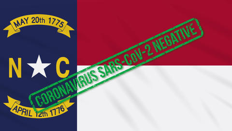 North Carolina US state swaying flag with green stamp of freedom from Animation