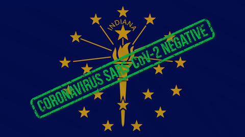 Indiana US state swaying flag with green stamp of freedom from coronavirus, loop Animation