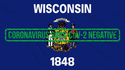 Wisconsin US state swaying flag with green stamp of freedom from coronavirus Animation