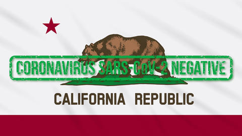 California US state swaying flag with green stamp of freedom from coronavirus Animation