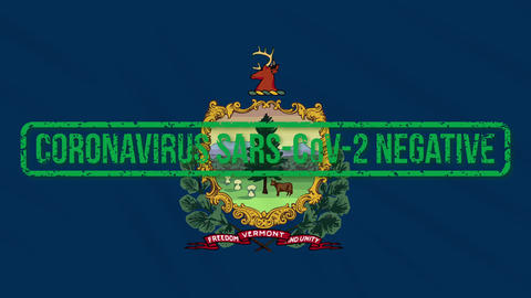 Vermont US state swaying flag with green stamp of freedom from coronavirus, loop Animation