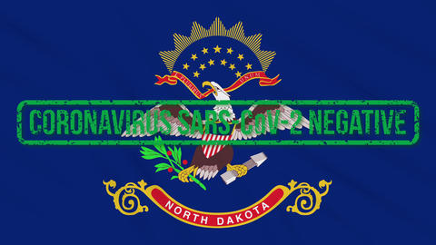 North Dakota US state swaying flag with green stamp of freedom from coronavirus Animation