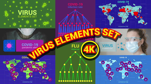 Virus Elements Set 4K Motion Graphics Template