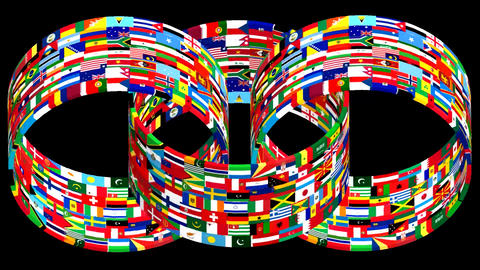 Flags of the world rotate. 3d animation Animation