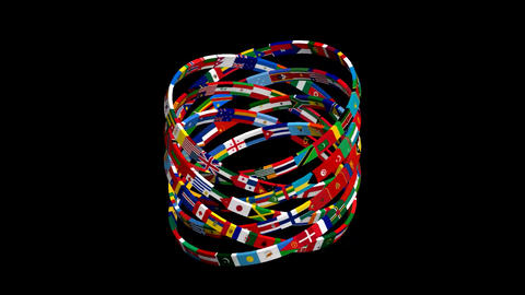 Flags of the world rotate. 3d animation. Unique video Animation