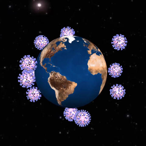 Coronavirus covid 19 revolves around the Earth. Black background Animation