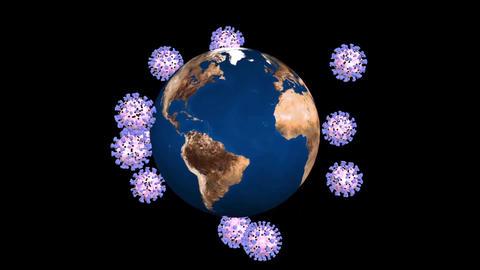 Coronavirus covid 19 revolves around the Earth. Black background Animation