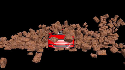 Car and stone wall collapse, car breaks a stone wall, crashing car (4) Animation