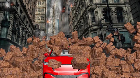 Car and stone wall collapse, car breaks a stone wall, crashing car Animation