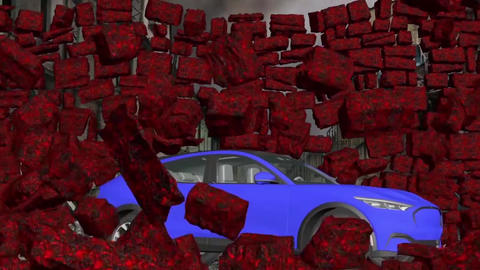 Car and stone wall collapse, car breaks a stone wall, crashing car (2) Animation