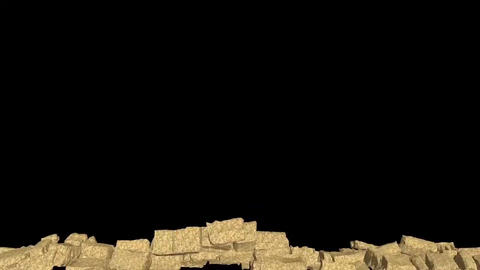 The wall explosion, destruction of stone wall Animation