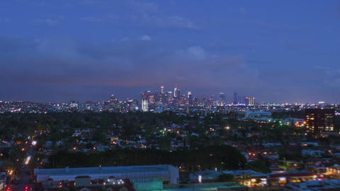 AERIAL HYPER LAPSE: Towards Downtown Los Angeles Day to Night Drone Time Lapse Live Action