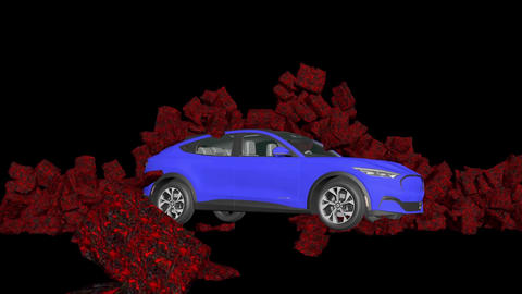 A car breaks a stone wall, car and stone wall collapse Animation