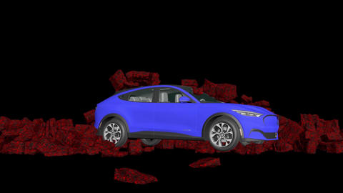 A car breaks a stone wall, car and stone wall collapse, Stock Animation