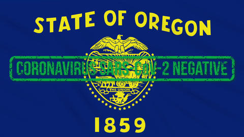Oregon US state swaying flag with green stamp of freedom from coronavirus, loop Animation