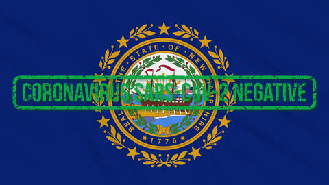 New Hampshire US state swaying flag with green stamp of freedom from coronavirus Animation