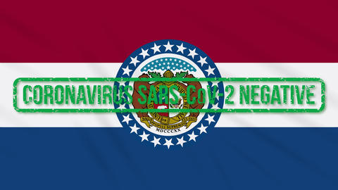 Missouri US state swaying flag with green stamp of freedom from coronavirus Animation