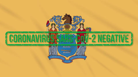 New Jersey US state swaying flag with green stamp of freedom from coronavirus Animation