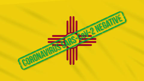 New Mexico US state swaying flag with green stamp of freedom from coronavirus Animation