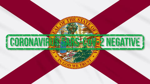 Florida US state swaying flag with green stamp of freedom from coronavirus, loop Animation